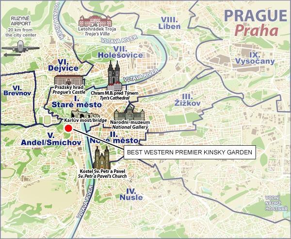 Location best western premier kinsky garden hotel prague for Prague location